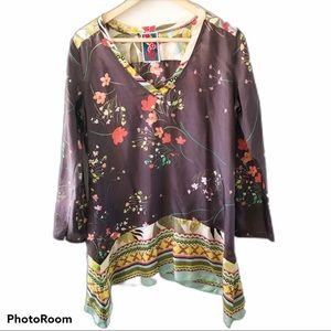 Johnny Was Brown Floral Silk Tunic Top